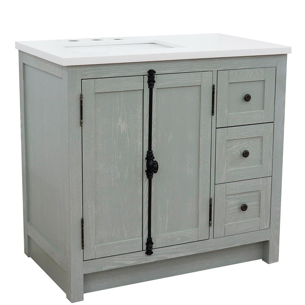 37 in. W x 22 in. D x 36 in. H Bath Vanity in Gray Ash with White Quartz Vanity Top and Left Side Rectangular Sink