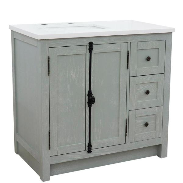 37 in. W x 22 in. D x 36 in. H Bath Vanity in Gray Ash with White Quartz Vanity Top and Left Side Rectangular Sink