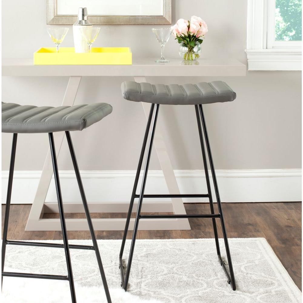 Safavieh Akito 30 In Gray Cushioned Bar Stool Set Of 2 Fox2010c