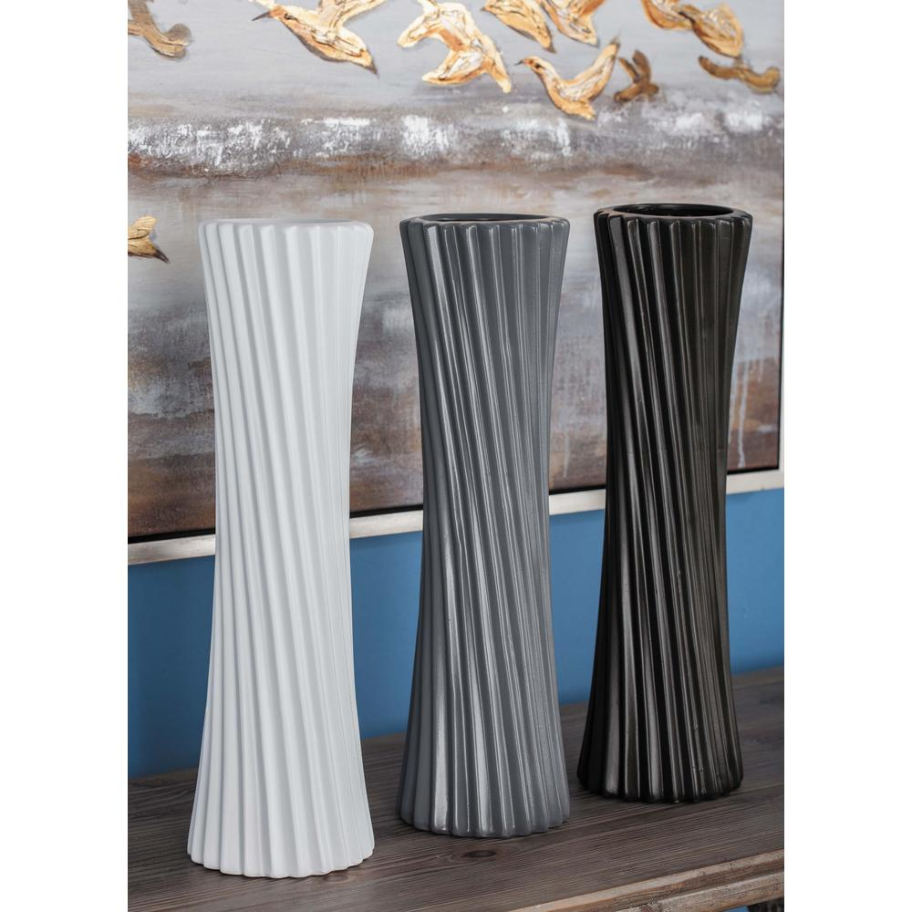 18 in. Semi-Hourglass Ceramic Decorative Vases in Black, White and Gray
