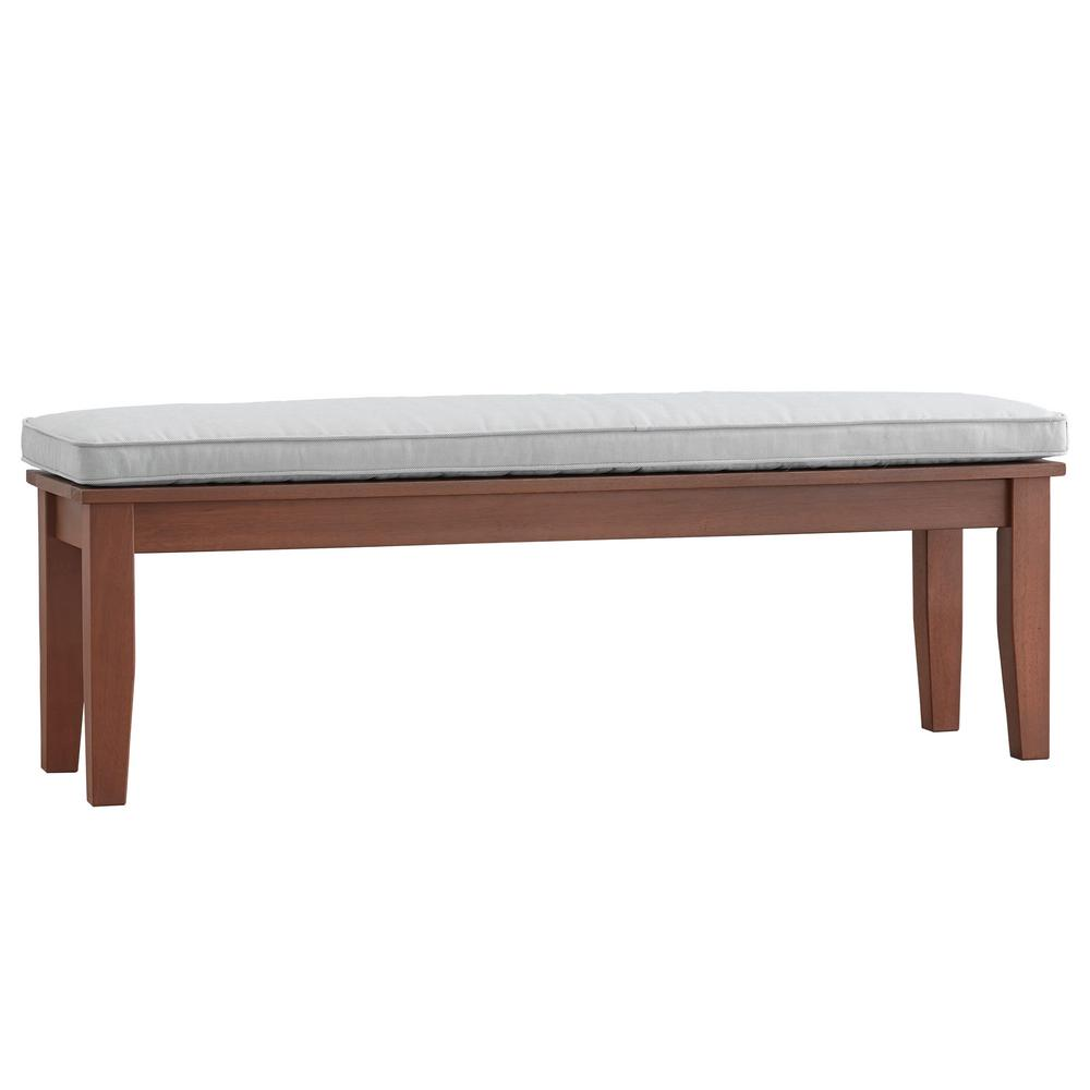 Etonnant Oiled Wood Outdoor Bench With Beige Cushion
