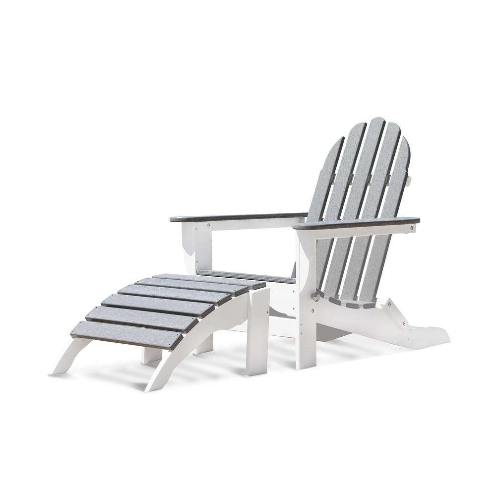 DUROGREEN Icon White and Driftwood Gray 2-Piece Plastic Folding Adirondack Chair