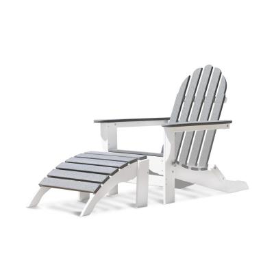 Icon White and Driftwood Gray 2-Piece Plastic Folding Adirondack Chair