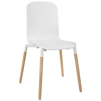 Stack White Dining Wood Side Chair