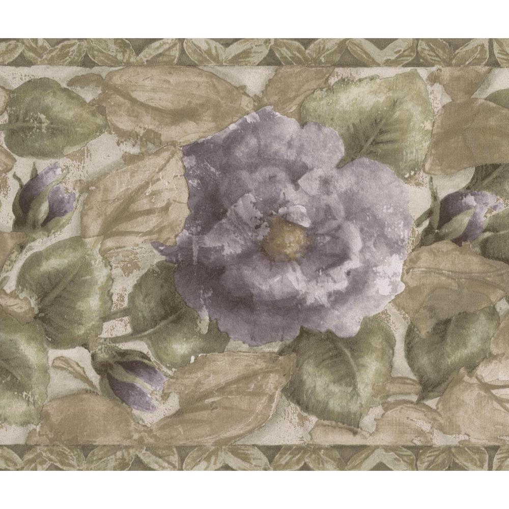 Purple Blooming Roses Green Floral Prepasted Wallpaper Border