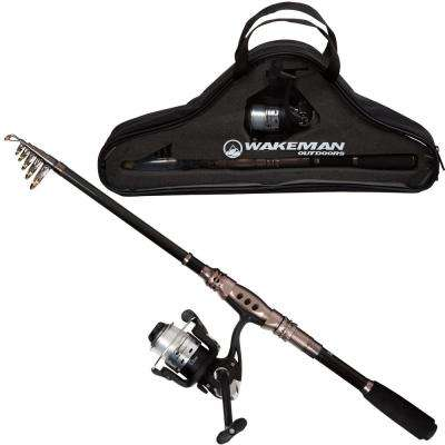 Ultra Series Carbon Fiber and Steel Telescopic Spinning Combo in Black and Silver