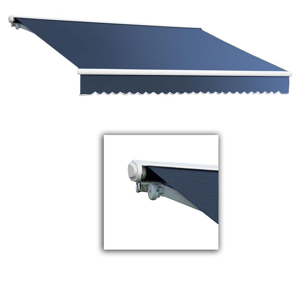 AWNTECH 16 ft. Galveston Semi-Cassette Right Motor with Remote Retractable Awning (120 in. Projection) in Dusty Blue