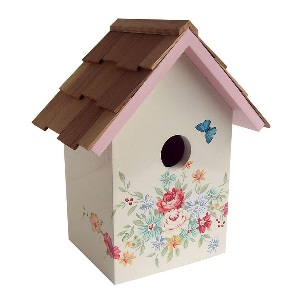 Home Bazaar Pastel Bouquet, Cream Background Printed Standard Birdhouse