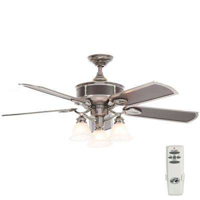 Preston 52 in. Indoor Vintage Pewter Ceiling Fan with Light Kit and Remote Control