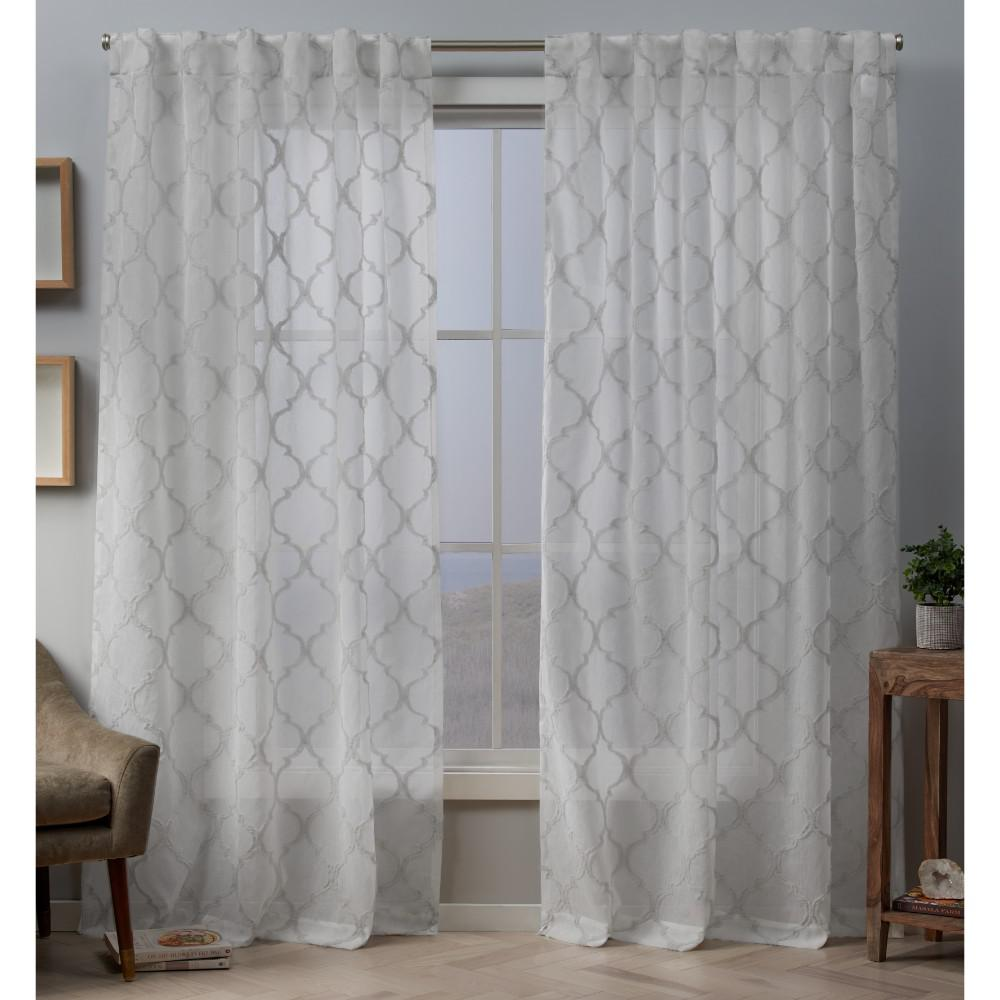 Exclusive Home Curtains Aberdeen 54 In W X 84 L Sheer Hidden Tab Top Curtain Panel Dove Gray 2 Panels