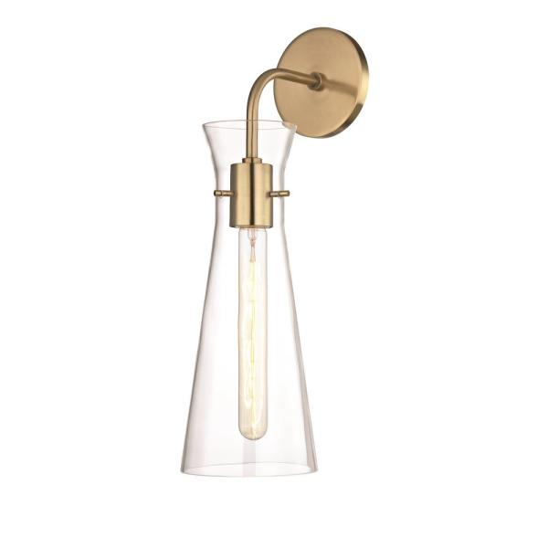 Anya 1-Light Aged Brass Wall Sconce with Clear Glass