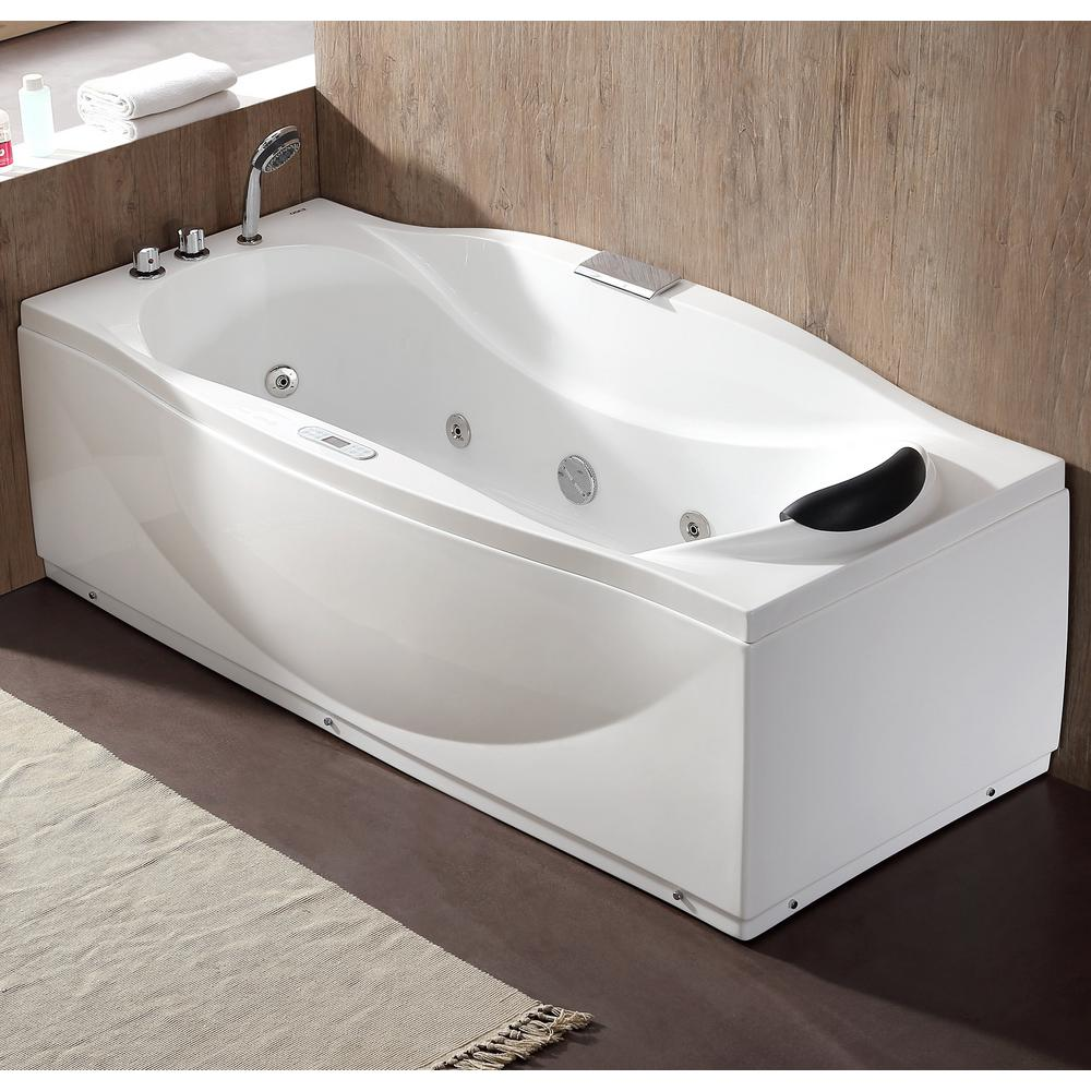 EAGO 71 in. Acrylic Flatbottom Whirlpool Bathtub in White