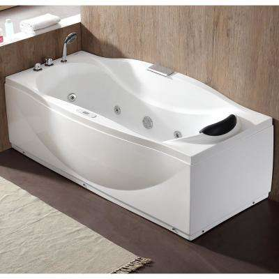 71 in. Acrylic Flatbottom Whirlpool Bathtub in White