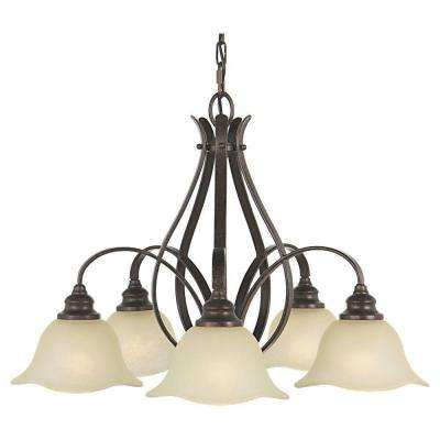 Morningside 5-Light Grecian Bronze Kitchen Chandelier with Glass Shade