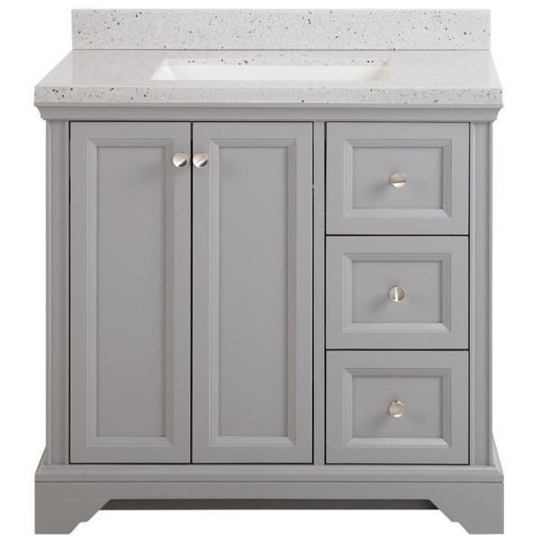 Home Decorators Collection Stratfield 37 In W X 22 In D Bath Vanity In Sterling Gray With Solid Surface Vanity Top In Silver Ash With White Sink Sf36p2v12 St The Home Depot