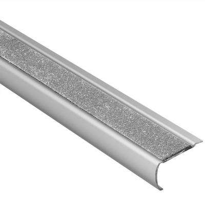 Trep-GK-B Brushed Stainless Steel/Transparent 1/16 in. x 4 ft. 11 in. Metal Stair Nose Tile Edging Trim