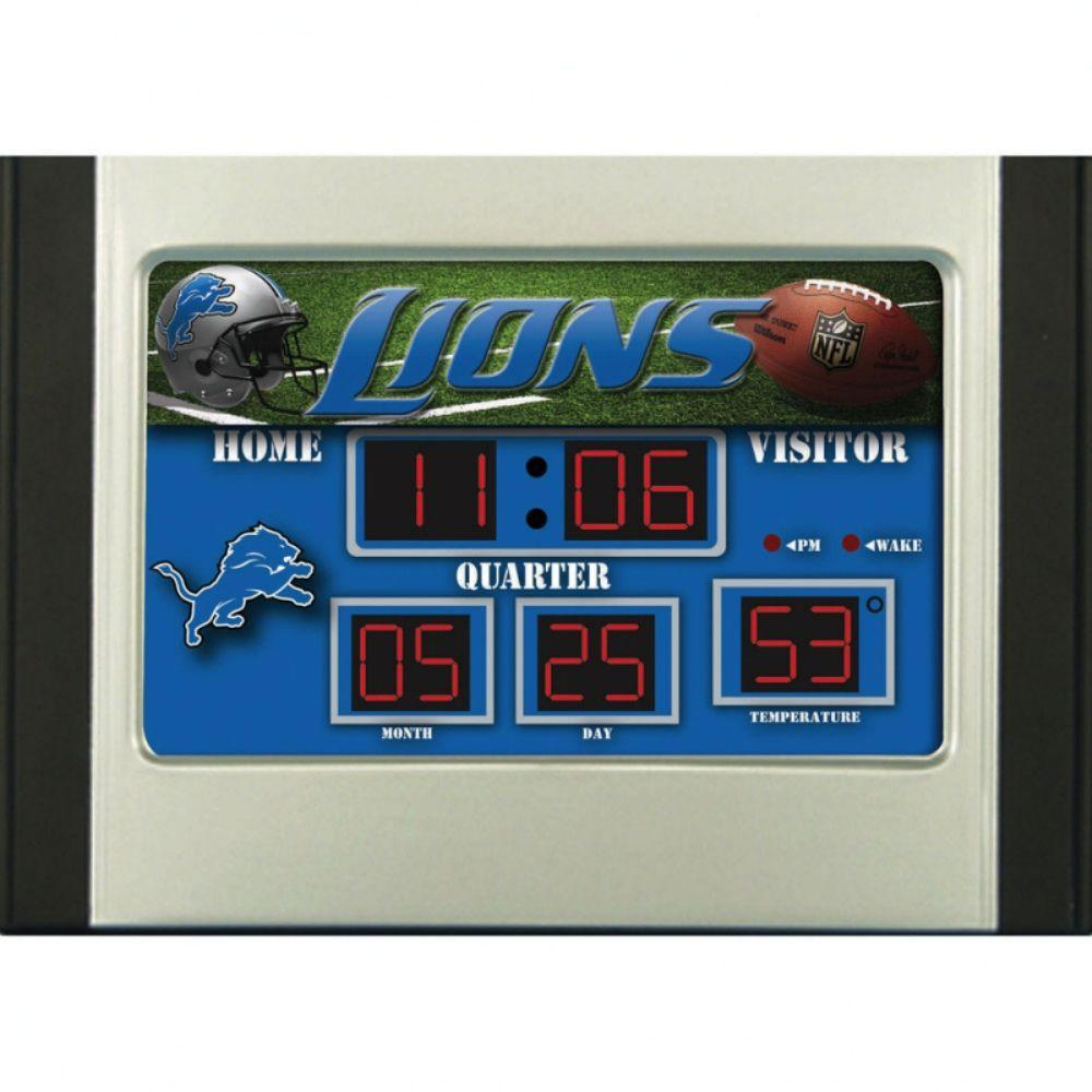 null Detroit Lions 6.5 in. x 9 in. Scoreboard Alarm Clock with Temperature