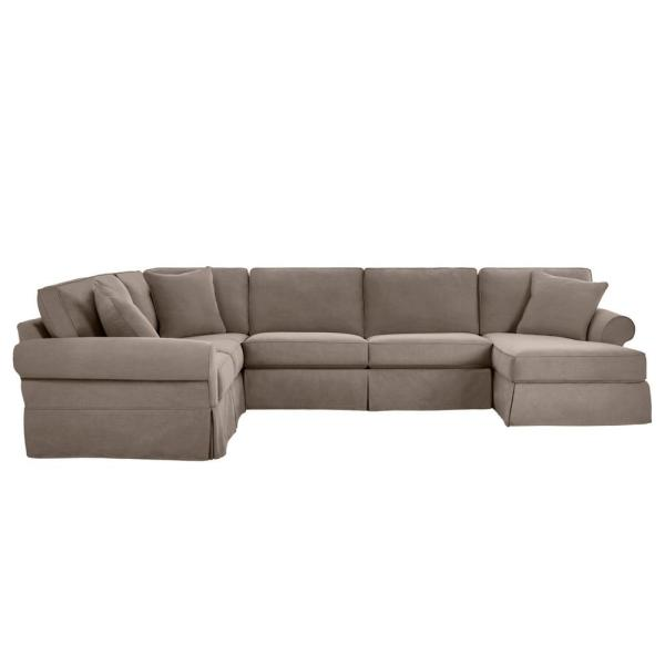 Hillbrook Essence Gray Wood U Shape Slipcovered Left Side Sectional (140.5 in. W x 36.5 in. H)