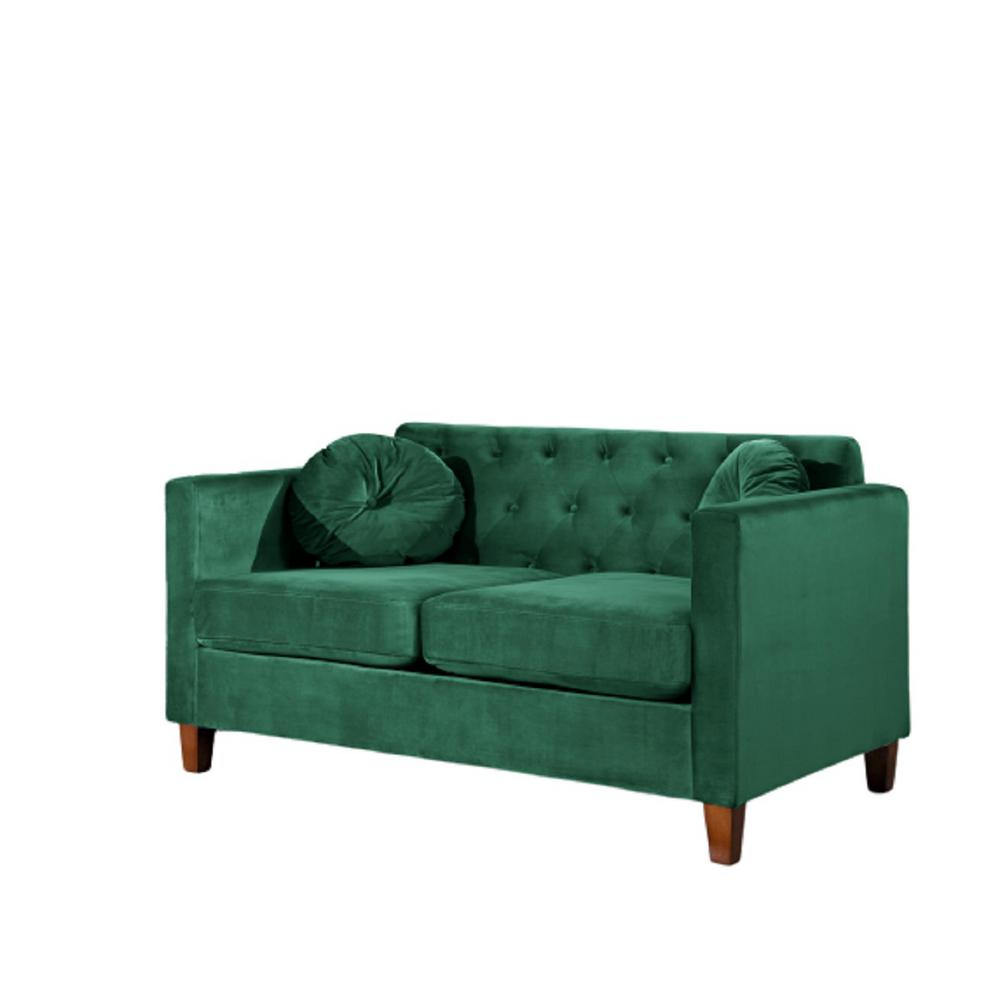 Us Pride Furniture Lory Kitts 55 In Green Velvet 2 Seater Chesterfield Loveseat With Square Arms S5538 L The Home Depot