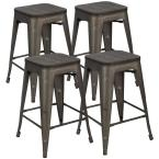 24 in. Home Bar Stools Metal Bar Stools with Wood Seat, High Backless Stackable Patio Kitchen Dining Stool (Set of 4)