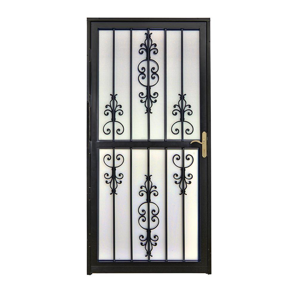Grisham 36 in. x 80 in. 309 Series Black Prehung Heritage Steel Security Door