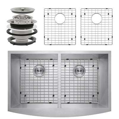 Handcrafted All-in-One Farmhouse Apron Front Stainless Steel 33 in. x 22 in. x 9 in. Double Bowl Kitchen Sink
