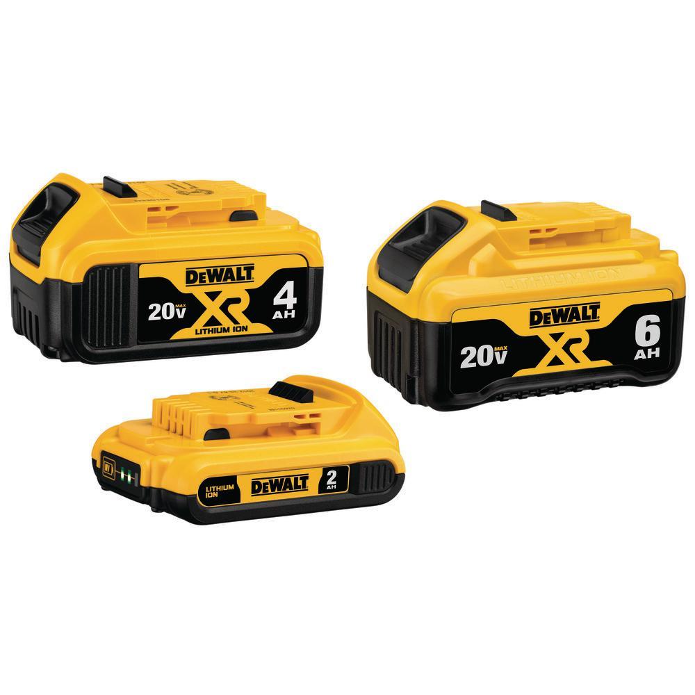 3-Pack Dewalt 20V MAX XR Lithium-Ion Batteries (6.0Ah, 4.0Ah & 2.0Ah)