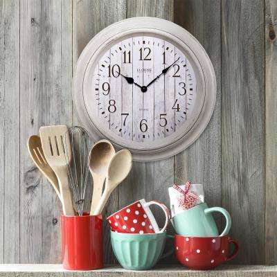 14 in. Round White Barn wood Quartz wall clock