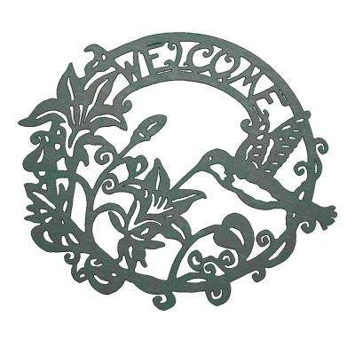 """Welcome"" Decorative Metal Cutout Wreath"