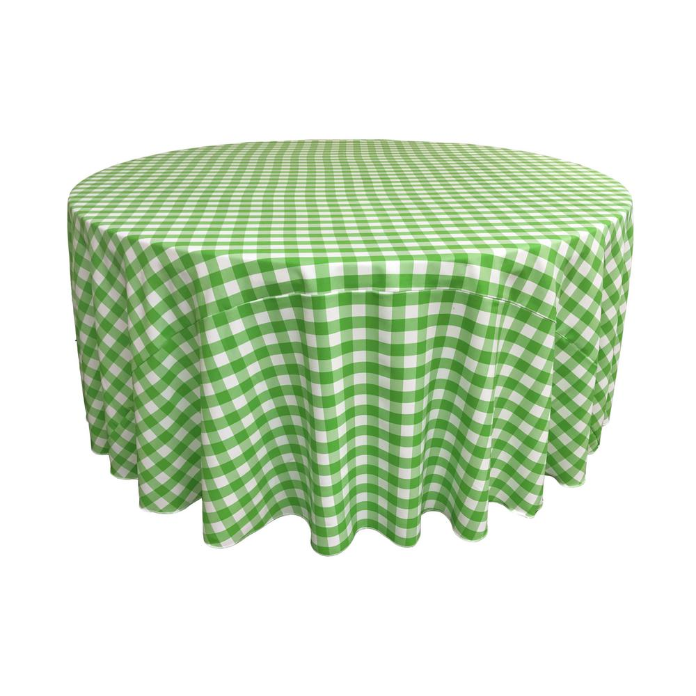 LA Linen 120 In. White And Lime Polyester Gingham Checkered Round Tablecloth
