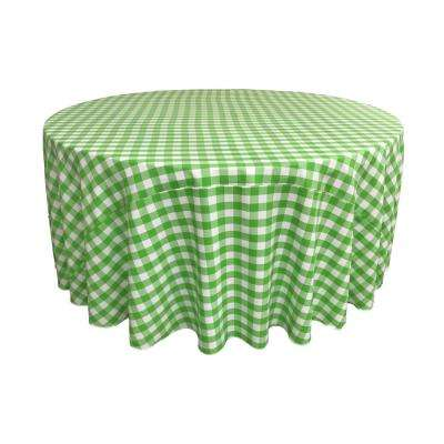 132 in. White and Lime Polyester Gingham Checkered Round Tablecloth