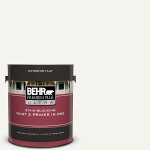 Behr Premium Plus Ultra 1 Gal 75 Polar Bear Flat Exterior Paint And Primer In One 485001 The
