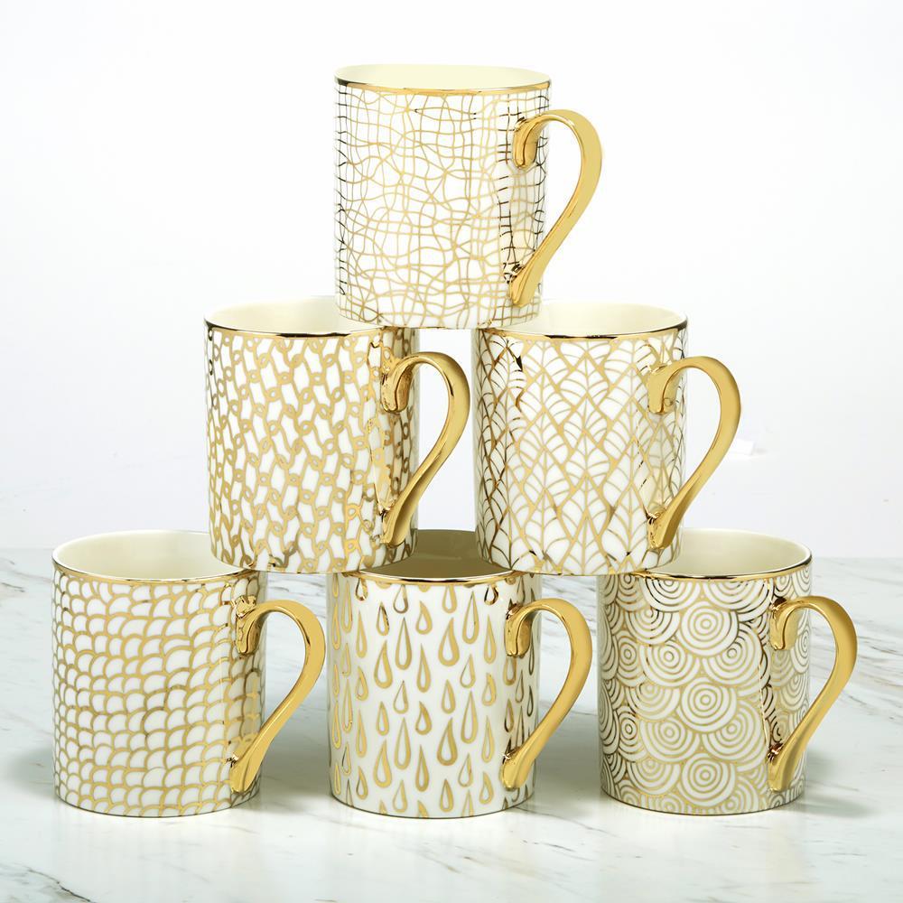 Tiger 6-Piece Patterned Multi-Colored Porcelain 14 oz. Mug Set (Service for 6)