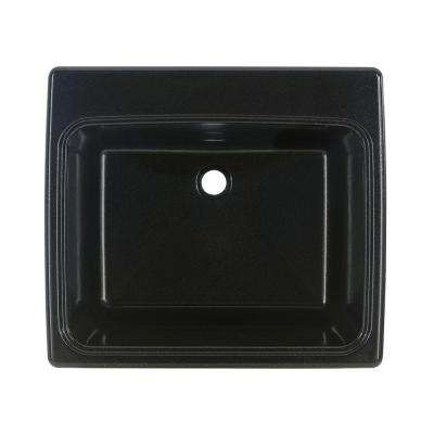 25 in. x 22 in. x 13.6 in. Solid Surface Undermount Utility Sink in Midnight Sparkle