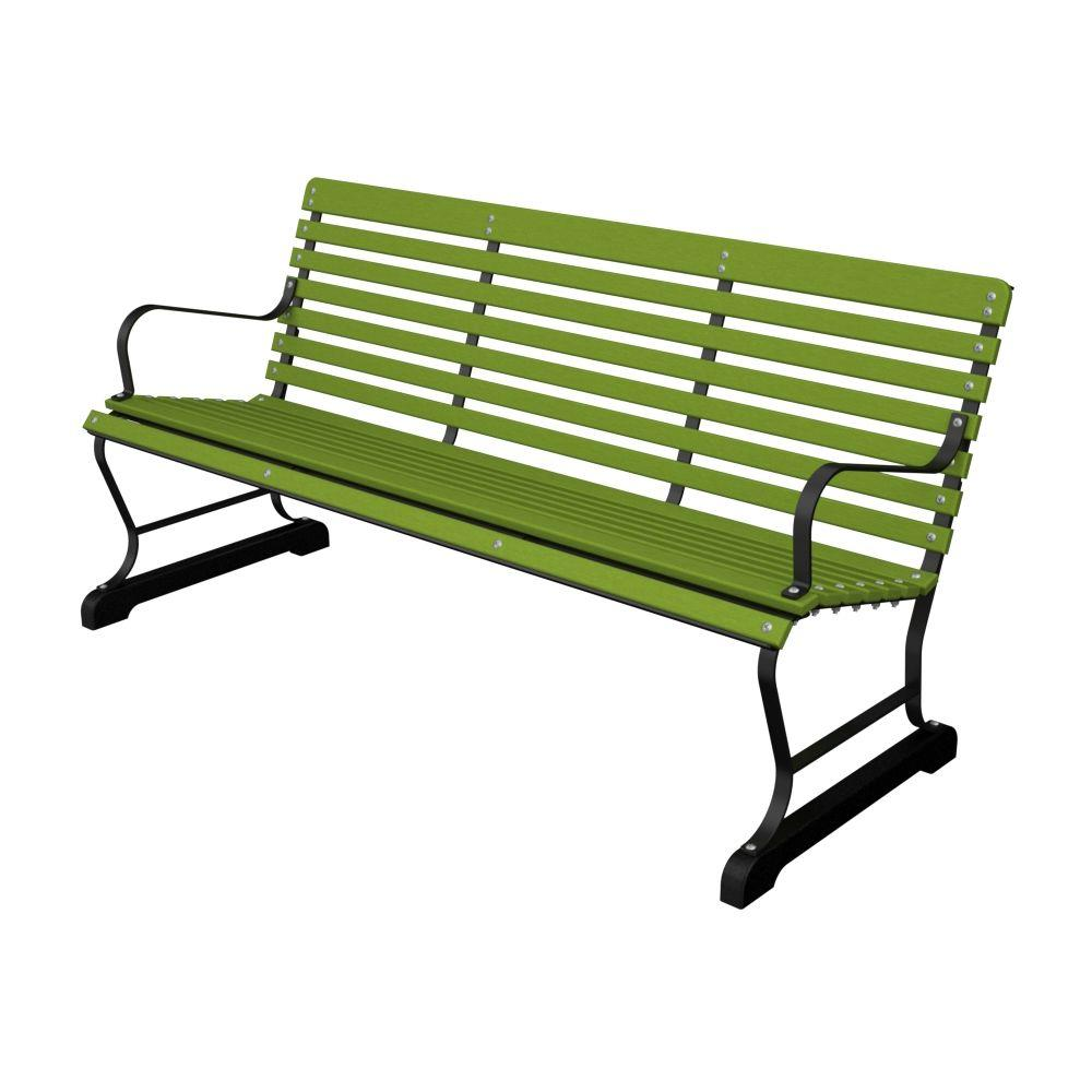 60 in. Black and Lime Plastic Outdoor Patio Bar Bench