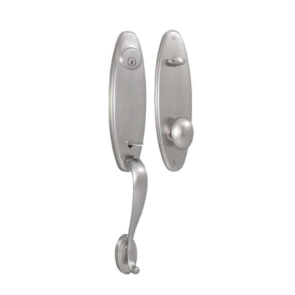 Elegance Single Cylinder Satin Nickel Stanford Interconnect Door Handleset with Julienne Knob