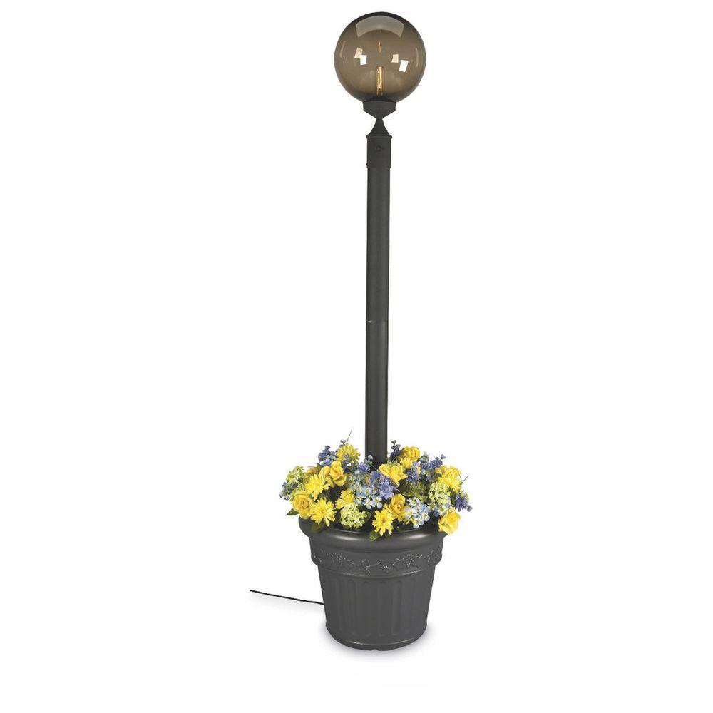Patio Living Concepts European Single Bronze Globe Plug-In Outdoor Black Lantern with Planter