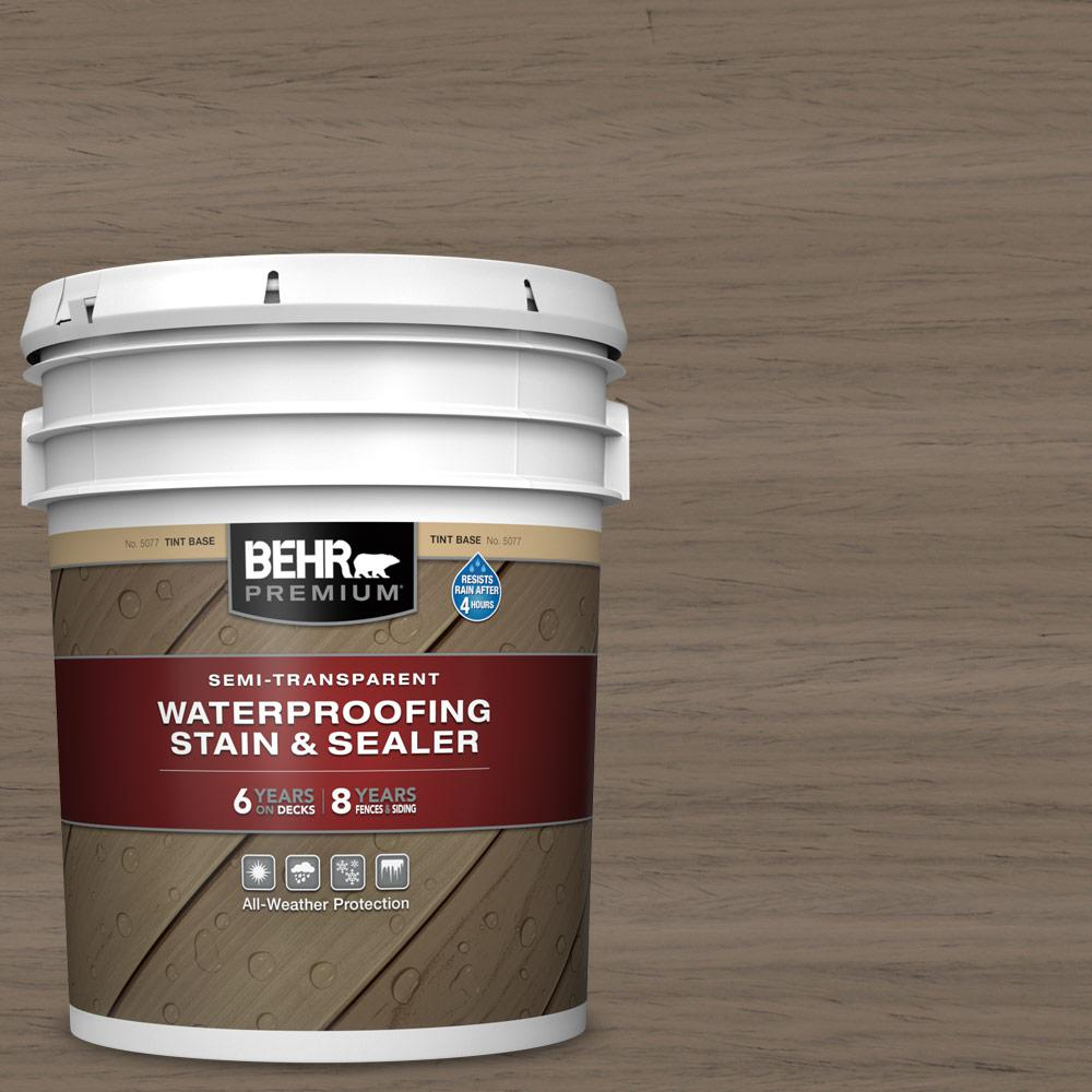 BEHR Premium 5 gal. #ST-159 Boot Hill Grey Semi-Transparent Waterproofing Exterior Wood Stain and Sealer