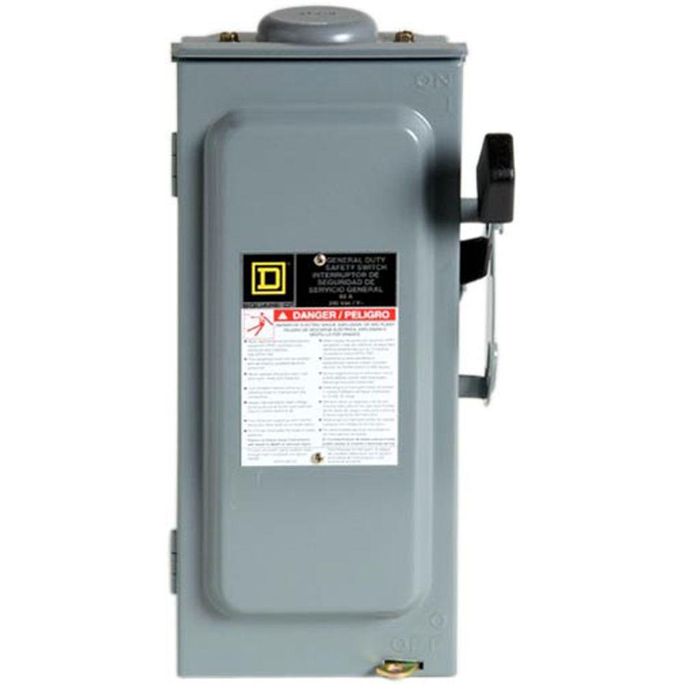 Square D 60 Amp 240-Volt 3-Pole 3-Phase Fused Outdoor General Duty Safety Switch