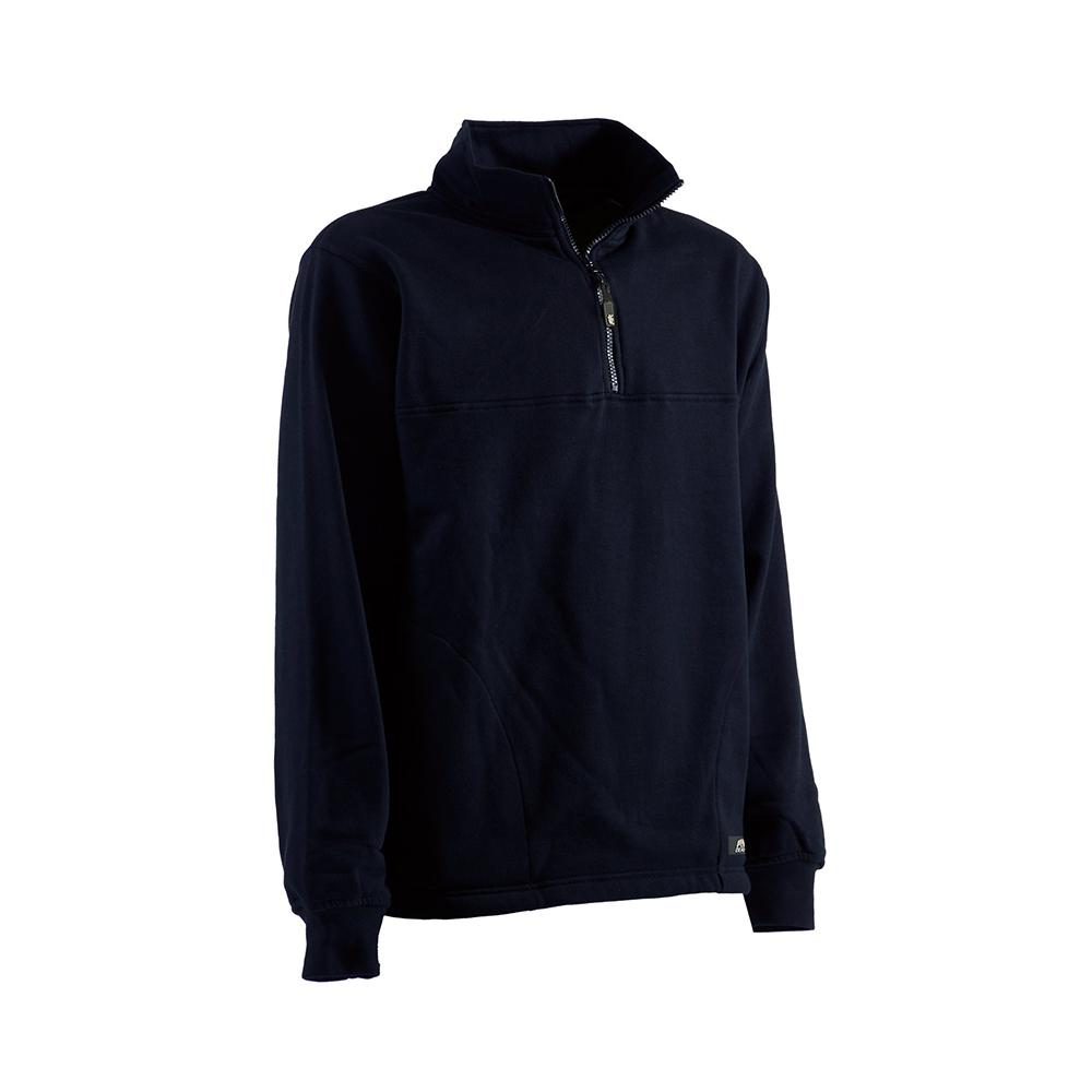 da450f31d Men's Medium Regular Navy Cotton and Polyester Fleece Thermal Lined Quarter  Zip Sweatshirt