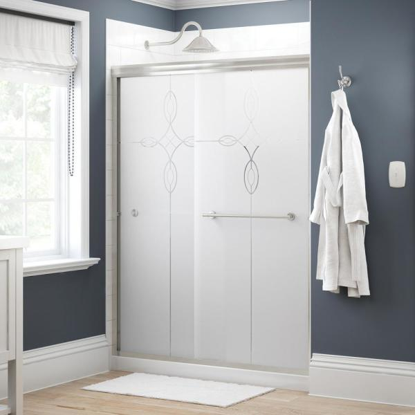 Crestfield 60 in. x 70 in. Traditional Semi-Frameless Sliding Shower Door in Nickel and 1/4 in. (6mm) Tranquility Glass
