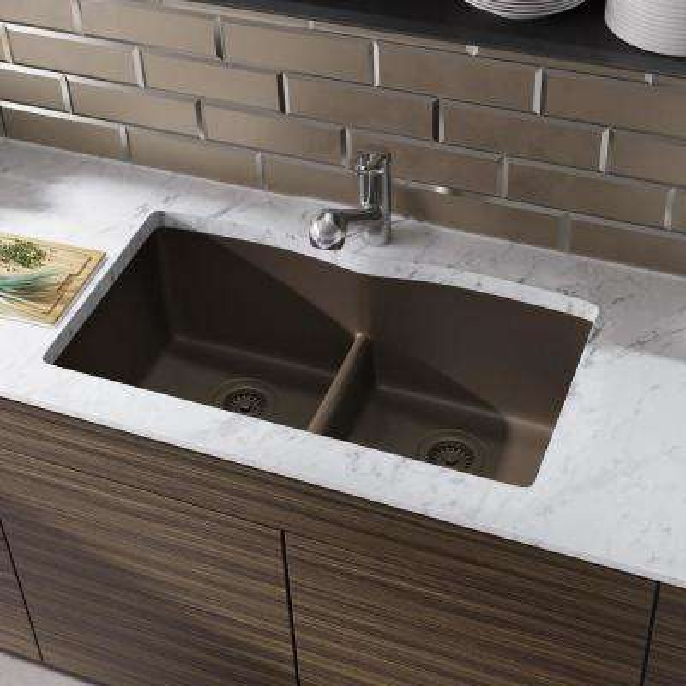 Undermount Composite Granite 33 in. Double Bowl Kitchen Sink in Umber