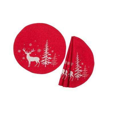 0.1 in. H x 16 in. W Round Deer in Snowing Forest Double Layer Christmas Placemat in Red (Set of 4)