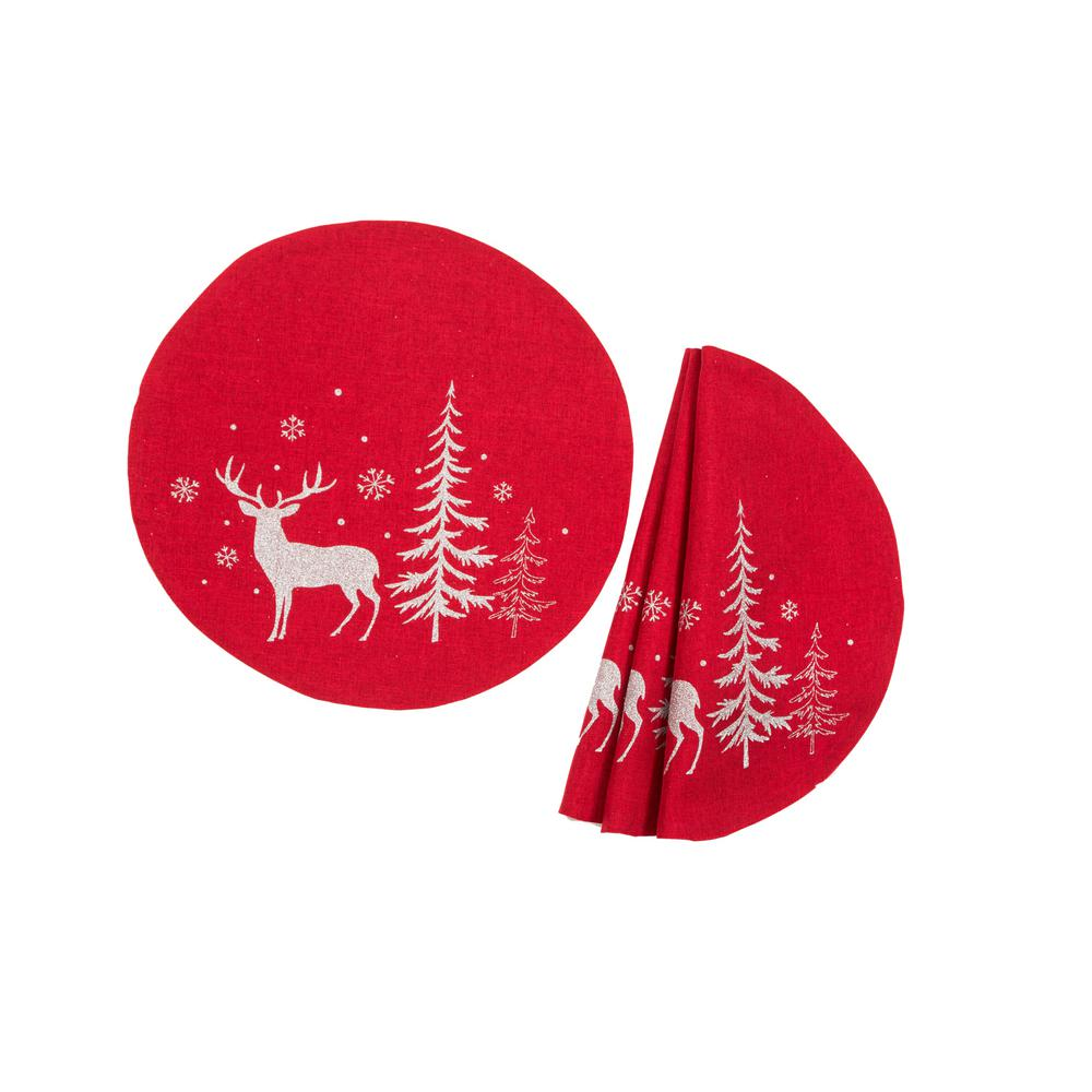 Cloth Placemats Winter Wonderland Woodland Forest Trees Snowfall Deer Set of 2