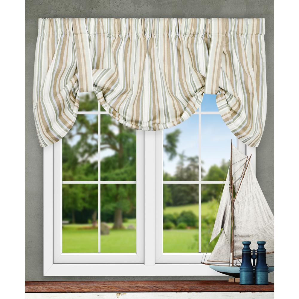 Ellis Curtain Mason Stripe 22 In. L Poly/Cotton Tie-Up