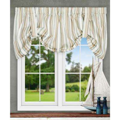 Mason Stripe 22 in. L Poly/Cotton Tie-Up Valance in Spa