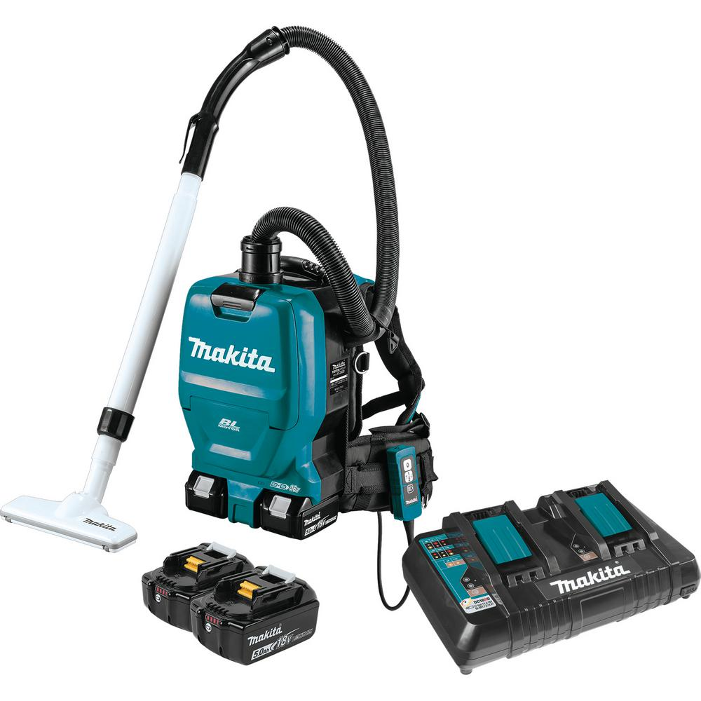 Makita 18-Volt X2 LXT 5.0Ah Lithium-Ion 36-Volt Brushless Cordless 1/2 Gal. HEPA Filter Backpack Dry Dust Extractor/Vacuum Kit
