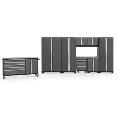 Bold 3.0 212 in. W x 75.25 in. H x 18 in. D 24-Gauge Welded Steel Stainless Steel Worktop Cabinet Set in Gray (9-Piece)