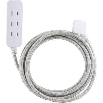 10 ft. Decor Extension Cord with 3 Polarized Outlets Surge Protection, Grey/White