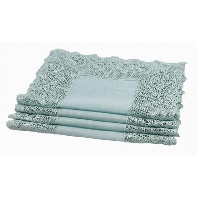14 in. x 20 in. Reflecting Pond Blue Garden Trellece Lace Trim Placemats (Set of 4)